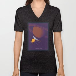 Cassini and Saturn (Grand Finale Poster) Unisex V-Neck