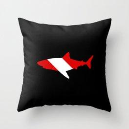 Diving Flag: Shark Throw Pillow
