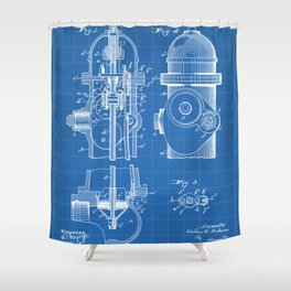 Fire Fighter Patent - Fire Hydrant Art - Blueprint Shower Curtain