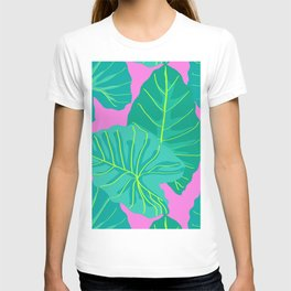 Giant Elephant Ear Leaves in Preppy Pink T-shirt