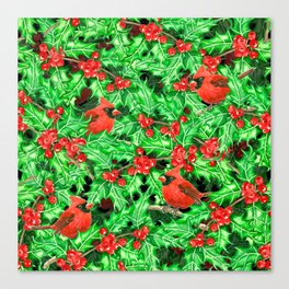 Cardinals and holly berry Canvas Print