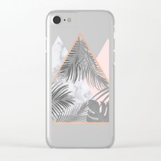 BLUSH GRAY COPPER MARBLE GEOMETRIC PATTERN Clear iPhone Case