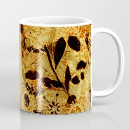 torn golden floral on red Coffee Mug