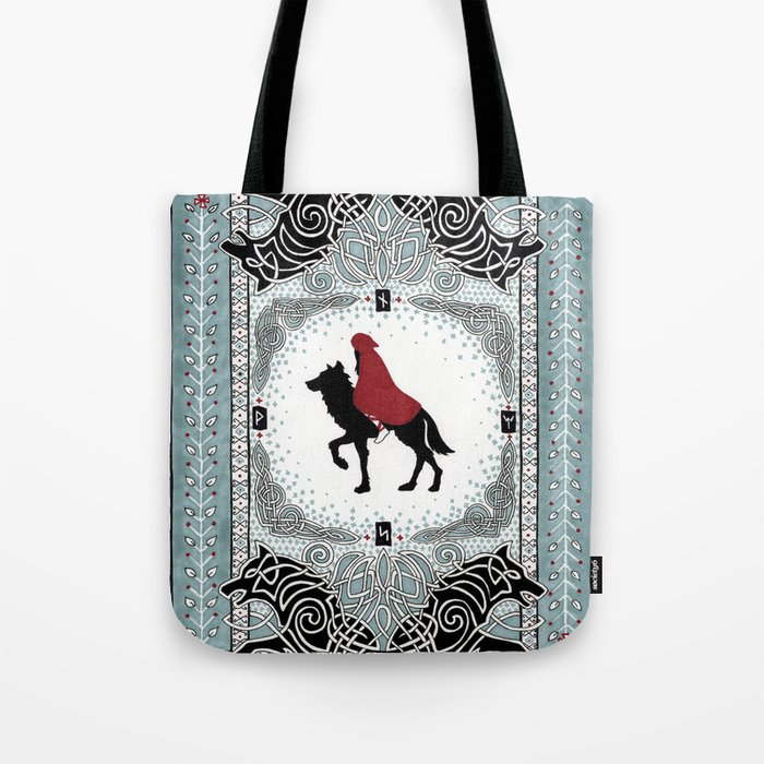 Red and Wolf Tote Bag