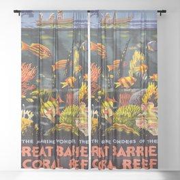 Marine wonders of the Great Barrier Reef coral, Switzerland Vintage Travel Poster, Vintage Print - Retro Travel Poster - Vintage Print Sheer Curtain