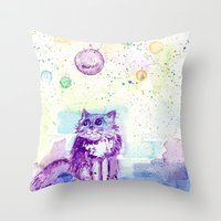 space cat Throw Pillows featuring Space Cat! by Colorful Simone