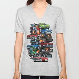 Car Madness! Muscle Cars and Hot Rods Cartoon Unisex V-Neck