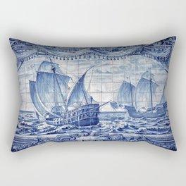 Portuguese Caravelas Azulejo art Rectangular Pillow