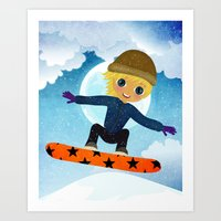 snowboarding Art Prints featuring SNOWBOARDING by Cherimoya Art