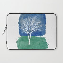 White Tree Watercolor Painting Laptop Sleeve