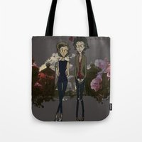 "larry stylinson Tote Bags featuring "" Larry Burton "" by Karu Kara"