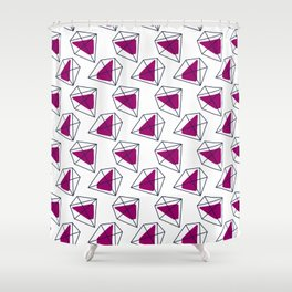 Contrast violet hexagons Shower Curtain