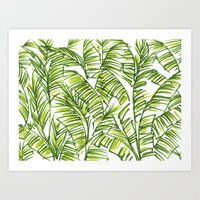 banana leaf Art Prints featuring Banana Leaf by The Paper Apartment