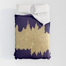 Modern abstract navy blue gold glitter brushstrokes Comforters