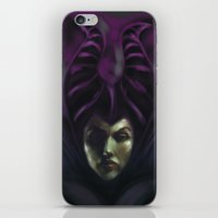 evil queen iPhone & iPod Skins featuring Malificent the Evil Queen by SachsIllustration