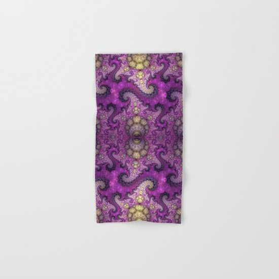 Dragon spirals and orbs in pink, purple and yellow Hand & Bath Towel