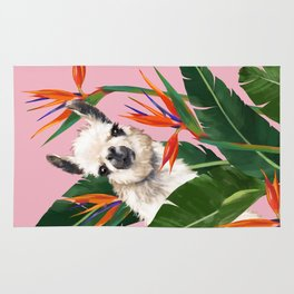 Llama in Bird of Paradise Flowers Rug