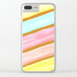 Retro Watercolor Stripes  Clear iPhone Case