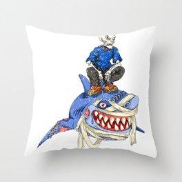 Halloween Skeleton Shark Throw Pillow
