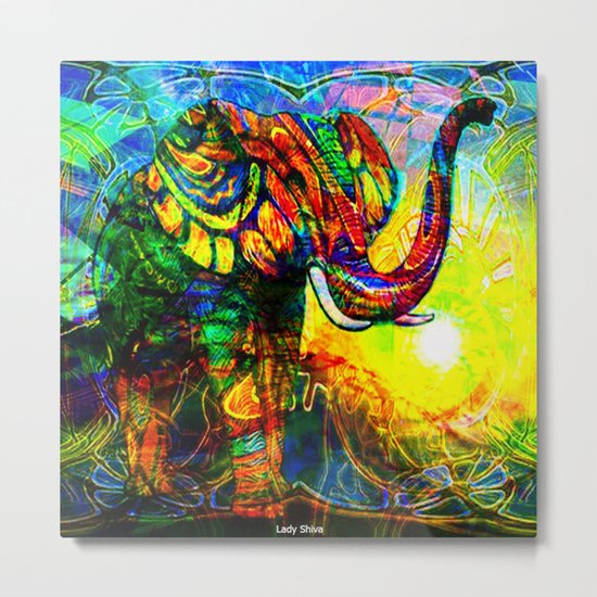 """ The old elephant knows where to find some water. "" Metal Print"