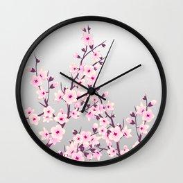 Cherry Blossom Pink Gray Wall Clock