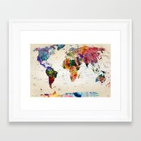 dinosaurs Framed Art Prints featuring map by mark ashkenazi