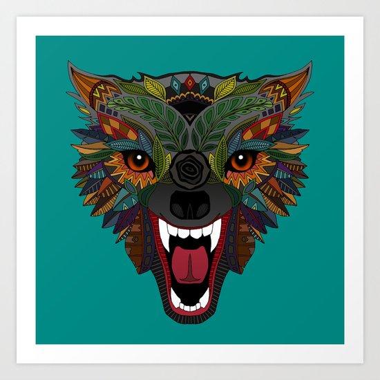 wolf fight flight teal Art Print