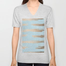 Abstract Paint Stripes Gold Tropical Ocean Sea Turquoise Unisex V-Neck