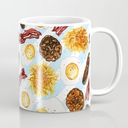 American Diner Breakfast on Blue Coffee Mug