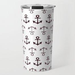 Nautical Seafarer Anchor Retro Seamless Pattern Travel Mug