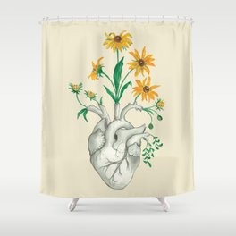 Floral Heart: Sunflower Human Anatomy Christmas Gift Shower Curtain