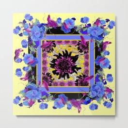 Blue  Patterns Morning Glories &  Yellow ART Metal Print
