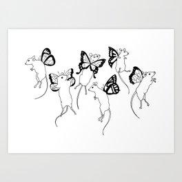 Black Ink Mouse Fairies Art Print Art Print
