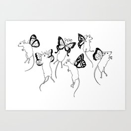 Black Ink Mouse Fairies Art Print Art Print