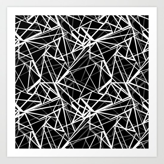Black and white abstract geometric pattern . 8 Art Print