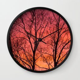 Tree Silhouttes Against The Sunset Sky #decor #society6 #homedecor Wall Clock