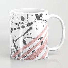 Modern Black Ink Splatter Rose Gold Stripes Coffee Mug