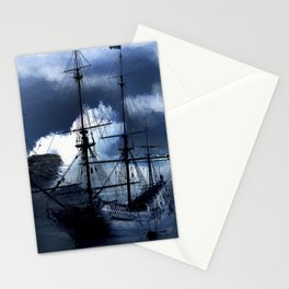 Old sailing ship on stormy sea Stationery Cards