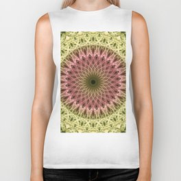 Detailed mandala in gold and red ones Biker Tank