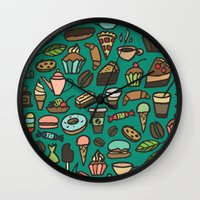 macaroon Wall Clocks featuring Coffee and pastry  by Julia Badeeva