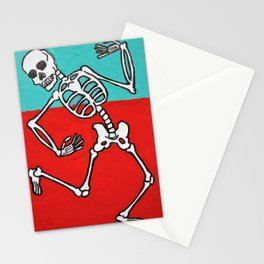 Skeleton Dance by Mike Kraus - skull aceo atc red blue teal halloween spooky collectibles fun Stationery Cards
