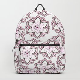 Original pencil hand drawn pink white floral pattern Backpack