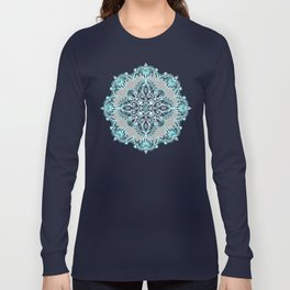 Teal and Aqua Lace Mandala on Grey Long Sleeve T-shirt