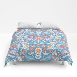 Happy Folk Summer Floral on Light Blue Comforters