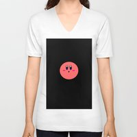 kirby V-neck T-shirts featuring Kirby Face by Veronica Grande