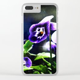 Violet Johnny Jump Ups And Stars Clear iPhone Case