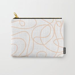 Doodle Line Art   Peach/Apricot Lines on White Background Carry-All Pouch