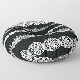 Black and white lace print Floor Pillow
