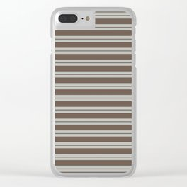 BM Mustang Brown & Color of the Year 2019 Metropolitan Light Gray Double Bold Horizontal Stripes Clear iPhone Case