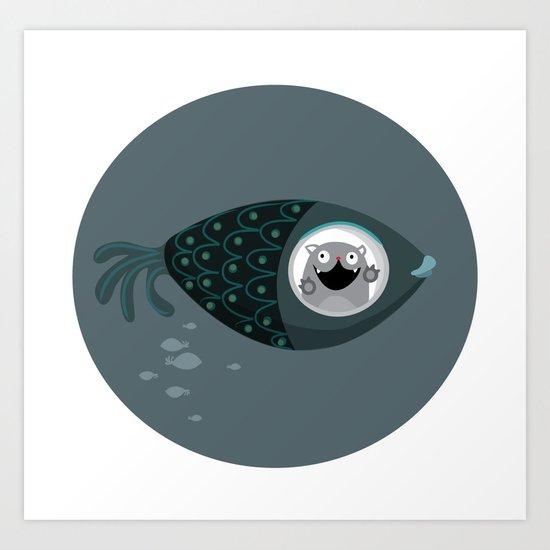 Fish ride Art Print